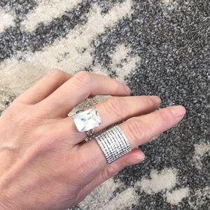 Jewelry - Square Crystal Gem Silver Ring